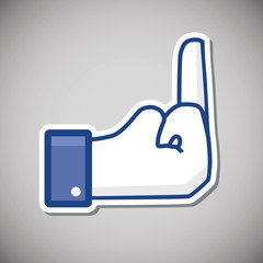 Middle finger thumb up button