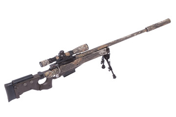 camouflaged sniper rifle with scope