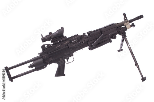 modern M249 us army machine gun isolated on white
