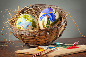 Easter eggs with  paintbrushes