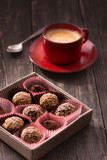Truffles and coffee cup