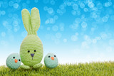 handmade easter bunny with green gras