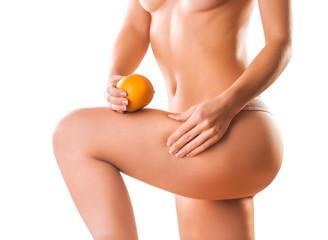 naked girl with orange. cellulite