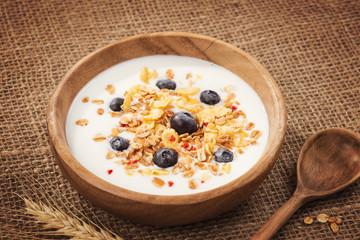 Muesli with yogurt and fresh blueberries