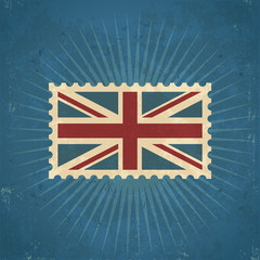Retro United Kingdom Flag Postage Stamp