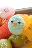 Easter decoration with ribbon,  Easter eggs and Chick