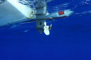 Outbord propeller of rubber boat