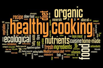 Healthy cooking concept - word cloud