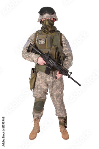 U.S. Army Infantryman on white background