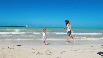 Mom and Daughter on a Yucatan Beach