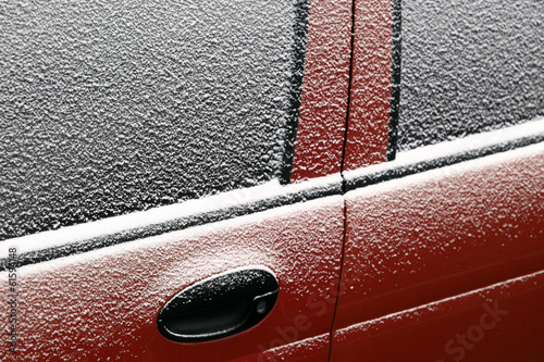 Snowy car door