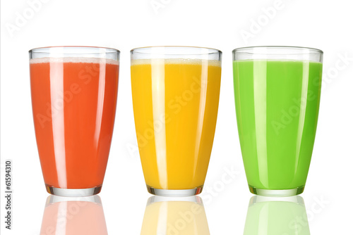 Trio of juices on white