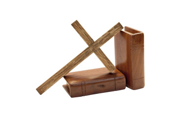 Cross And Two Bibles With Wooden Covers