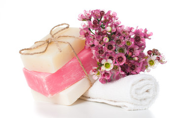 Products for spa in pink