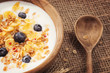 Cornflakes with yogurt and blueberries