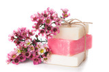 handmade soap and cherry blossoms