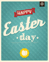 Happy Easter day card, typographical background, poster design