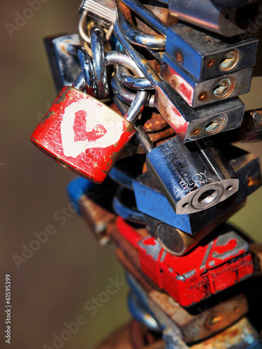 padlock with a heart on the bridge