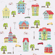 Seamless pattern with city landscape