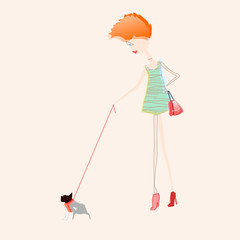 red hair girl with a red bag walking her bulldog