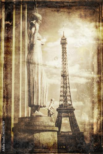Aged vintage retro picture of Tour Eiffel in PAris Obraz na płótnie