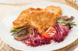 Fish in Batter with grilled mushrooms and vegetables