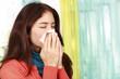 Frau putzt sich die Nase - Woman sneezes