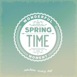 Spring time inscription on retro label. Abstract vector eps10