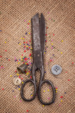 Top view on old scissors