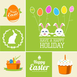 Vector set of easter  decorative elements and labels