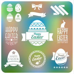 Vector set of easter  decorative elements and labels. Flat desig