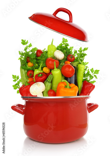 Colorful vegetables in a red cooking pot