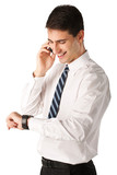 young businessman smiling using telephone