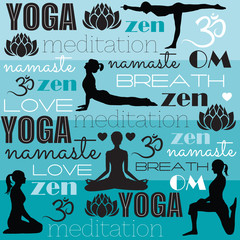 yoga namate meditation zen om vector illustration