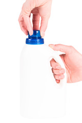 Plastic Container On White Background with hands