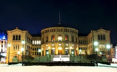 Stortinget at night