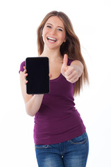 Positive, woman and touchpad
