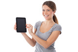 Happy woman presenting a digital tablet