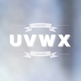 U V W X Flat Layered Alphabet on Blurred Background