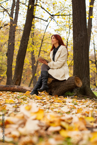 Beautiful woman relaxing in park