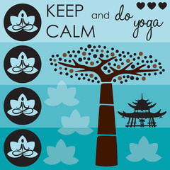 keep calm life tree vector illustration