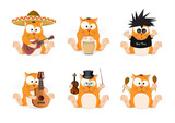 A set of cats of different musical styles