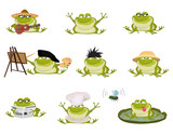 Set of Nice cartoon vector toads