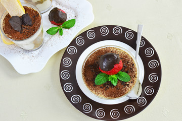 Tiramisu on brown plate