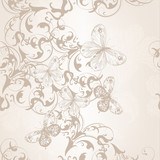 Seamless vector wallpaper pattern with swirl floral element and