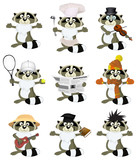 Nice set of cartoon raccoons