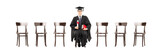 Excited college student holding diploma, seated on wooden chair