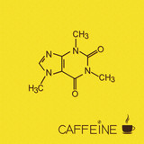 Caffeine molecule and cup of coffee over burlap texture poster