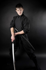 Ninja - spy, saboteur, stealth assassin of feudal Japan. Ninja w