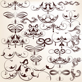 Vector set of decorative vintage flourishes for design